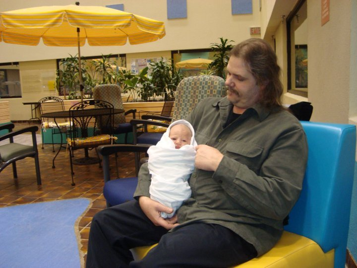 February 21st 2010 with my two day old Grandson Xander Lee with me @ 280#'s